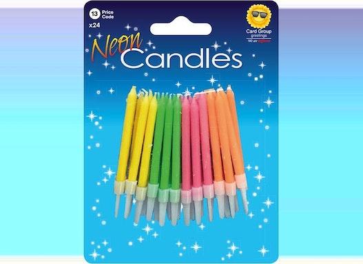 Neon Kerzen (24 Steckkerzen, Kuchenkerzen, Geburtstagskerzen, Partykerzen), verschiedene Farben, incl. Halter