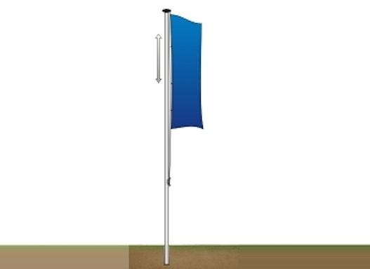 Fahnenmast -FA60- aus Aluminium, Höhe 6 m, Ø 60 mm, ohne Auslegerarm
