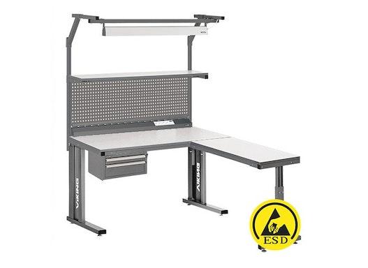 Arbeitstisch Viking Comfort Set 4 ESD, 1200x700 mm mit Beleuchtung, Energieleiste und Anbautisch