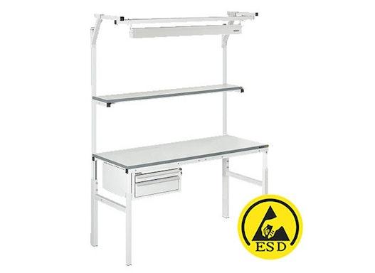 Arbeitstisch Viking Classic Set 1 ESD, 1500x700 mm mit Beleuchtung, Regalboden und Schubladen