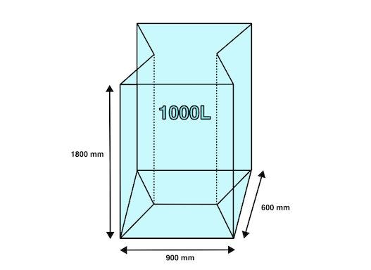 Seitenfaltensack 1000L 900+600x1800mm für Gewerbefolien 22µ (80 Stück/ Karton)