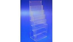Prospektständer aus Acrylglas, Acryline, Prospektständer 5-fach A4