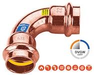 SECURFRABO KombiFitting Bogen I/I 90° für Trinkwasser + Heizung + Gas mit V-Kontur - Pressfitting (RS9002) für CU-Rohr