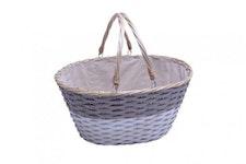 Einkaufskorb grau/weiß aus Holzspangeflecht mit Klapphenkel