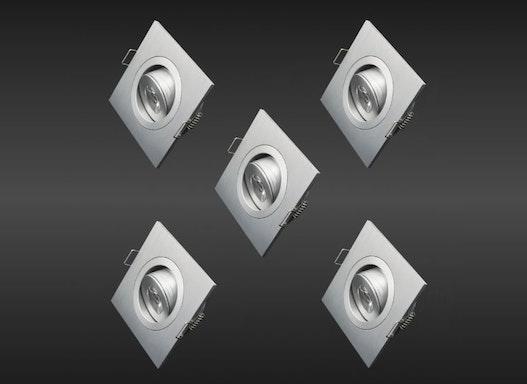 5er-Komplettset! 3 Watt LED-Mini-Einbaustrahler eckig Aluminiumrahmen