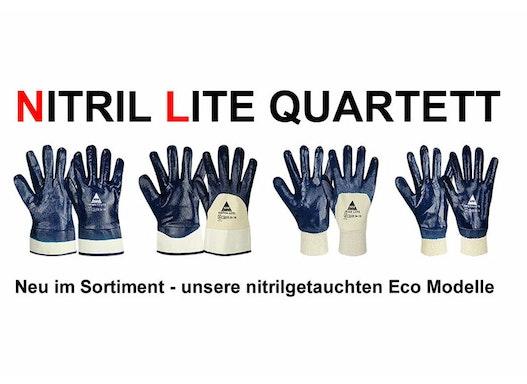 Nitril-Handschuhe, blau, Stulpe teilbeschichtet