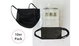 10er Pack Mund-und Nasenmaske / Staubmaske (SCHWARZ 502) aus 3-lagigem Vliesstoff