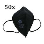 50 Stück FFP2 Maske schwarz einzeln verpackt Atemschutzmaske Mundschutz