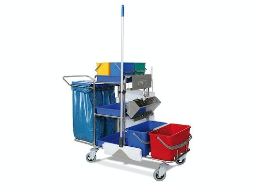 Symto Edelstahl Reinigungswagen groß mit Edelstahlpresse