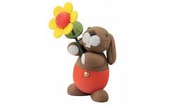 Deko Figur Hosen Hase Hugo mit Sonnenblume