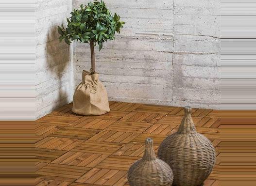 Terrassenfliesen aus Holz braun 300x300x15mm