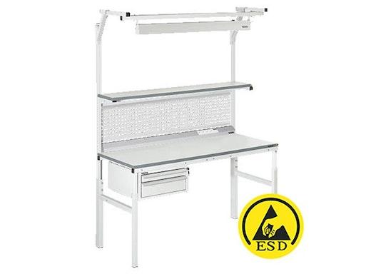 Arbeitstisch Viking Classic Set 2 ESD, 1200x900 mm mit Beleuchtung, Energieleiste und Schubladen