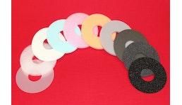 Ringe + Scheiben  aus PE-/PU-Schaum,  auch für Pharma- und Lebensmittelindustrie