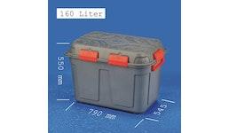 JUMBO-DRY-BOX 160 Liter, groß, anthrazitfarben und wasserdicht - Aufbewahrungsboxen aus Kunststoff