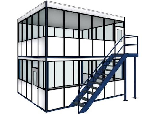 Aufbaumöglichkeiten – Hallenbüros, Meisterbüros, Betriebsbüros auf oder unter einer Stahlbaubühne bzw. Lagerbühne