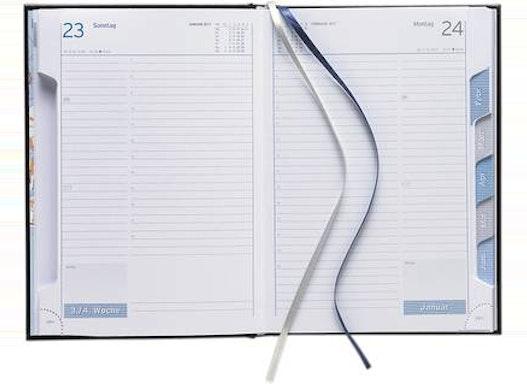 Buchkalender mit Registerstanzung