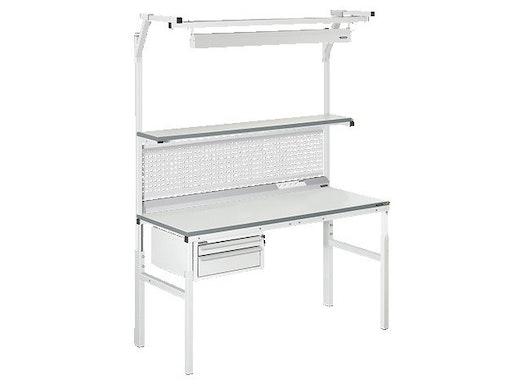Arbeitstisch Viking Classic Set 2 Technisch, 1200x700 mm mit Beleuchtung, Energieleiste und Schubladen
