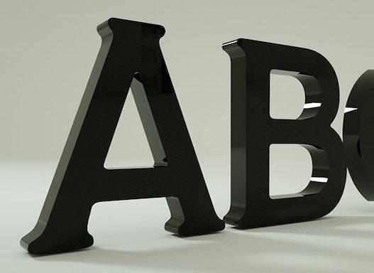 3D - Acrylglasbuchstaben   O-Glas Buchstaben   Polymethylmethacrylat   5mm stark