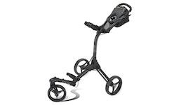 Bag Boy Ultra Compact Deluxe Swivel Wheel 2.0 Version Golf Trolley inkl. Schirmhalterung und Regenschirm