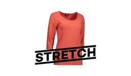 Stretch Damen T-Shirt | 3/4-Arm 591 von ID / Farbe: coral / 92Pr. BA...| Berufsbekleidung für den medizinischen Bereich