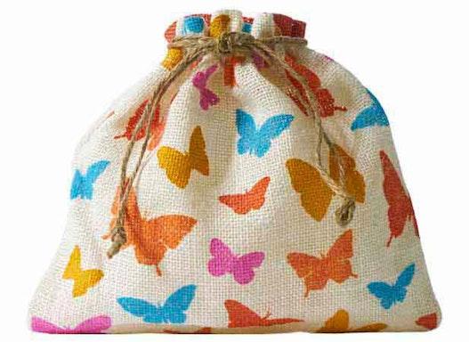 Jutebeutel mit Schmetterling-Motiv