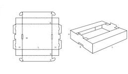 FEFCO 0436 Krempelverpackung mit Stapelnase und zum Einstecken mit Stapelfläche