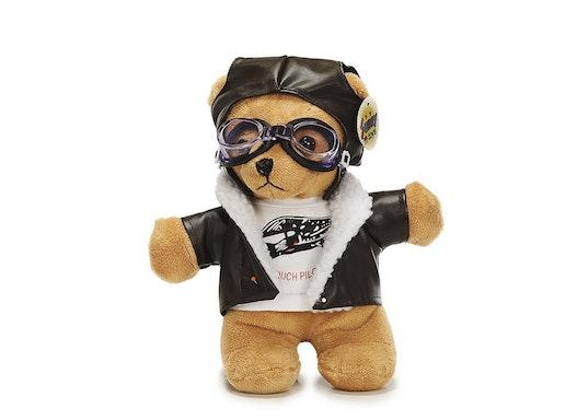 Pilotbär mit Fliegermütze und Fliegerbrille aus Plüsch