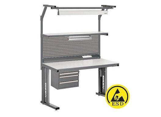 Arbeitstisch Viking Comfort Set 3 ESD, 1500x700 mm mit Beleuchtung und Lochplatte