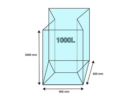 Seitenfaltensack 1000L 900+600x2000mm 40µ (50 Stück/ Karton)