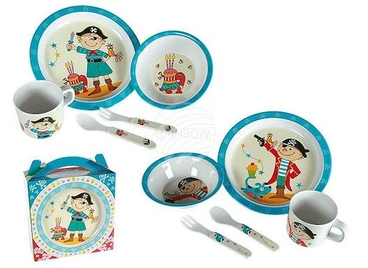 71-2963 Kunststoff-Kindergeschirr, Pirat (Teller, Schale, Tasse, Gabel, Löffel) 2-f
