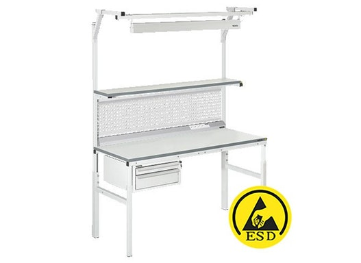 Arbeitstisch Viking Classic Set 2 ESD, 1500x900 mm mit Beleuchtung, Energieleiste und Schubladen