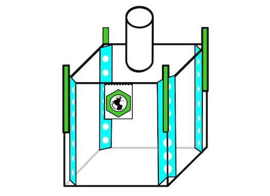 Formstabiler Big Bag 100x100x200cm,SWL 1500kg,SF:5:1
