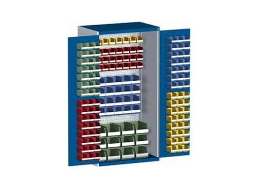 bott cubio Systemschrank mit Flügeltüren + 160 Sichtlagerkästen, Perfo®-Lochung, 1050 x 650 x 2000 mm
