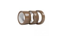 PP-Selbstklebeband / 25mm x 66m / 72 Rollen pro Karton / braun / Naturkautschuk