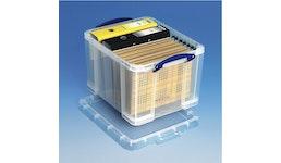 Really Useful Box 35 Liter für A4-Ordner, transparent, 480 x 390 x 310 mm - Aufbewahrungsboxen aus Kunststoff