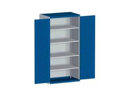 bott cubio Systemschrank mit Flügeltüren + Perfo®-Lochung, 2 Fachböden, 1050 x 650 x 1000 mm