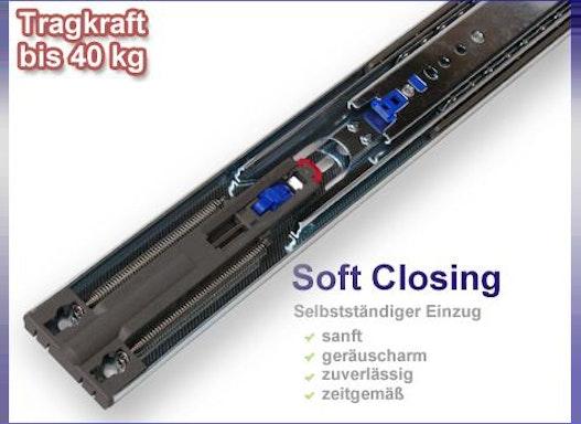 """Teleskopauszüge mit """"SOFT CLOSING"""" bis 40 kg"""