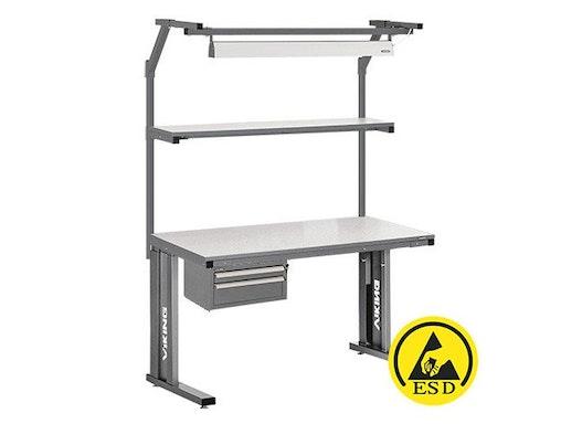 Arbeitstisch Viking Comfort Set 1 ESD, 1200x700 mm mit Beleuchtung