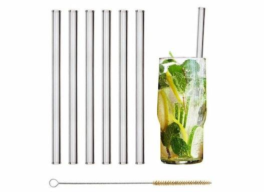 Glasstrohhalme HALM Trinkhalme Strohhalme 6x 20cm (gerade) mit Logo Gravur - nachhaltiges Werbegeschenk Werbeartikel