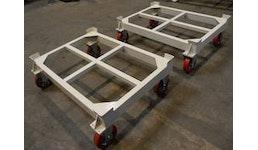 Fahrgestelle für Paletten, Gitter- und Stapelbehälter.