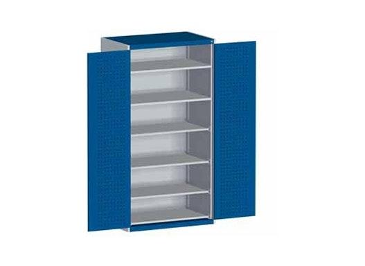 bott cubio Systemschrank mit Flügeltüren + Perfo®-Lochung, 2 Fachböden + 4 Tablare, 1050 x 650 x 2000 mm