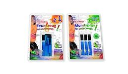 Feuerzeug mit Mundspray und Ersatz Spray