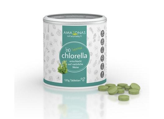 BIO Chlorella Presslinge in 120g und 300g Dosen etikettiert oder neutral