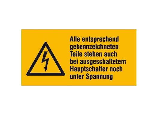 Elektrokennzeichnung/Warnkombischild, Alle entsprechend gekennzeichneten ..., 52 x 26 mm / Folie, 9er-Bogen