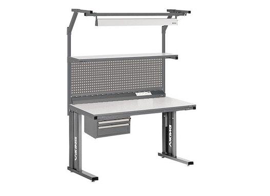 Arbeitstisch Viking Comfort Set 2 , 1500x700 mm mit Beleuchtung und Energieleiste