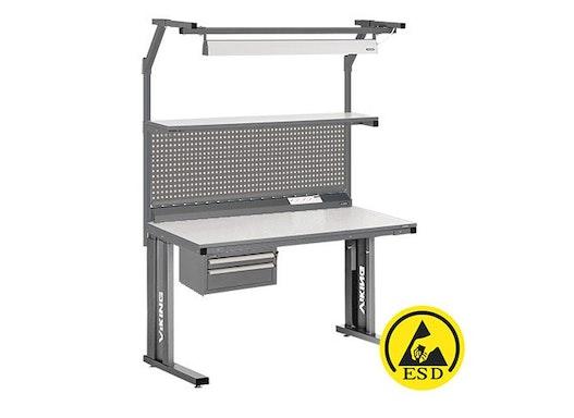 Arbeitstisch Viking Comfort Set 2 ESD, 1500x700 mm mit Beleuchtung und Energieleiste