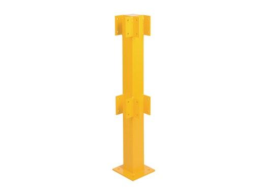 Pfosten für Sicherheitsgeländer gelb H.500 mm Eckpfosten für zwei Querbalken