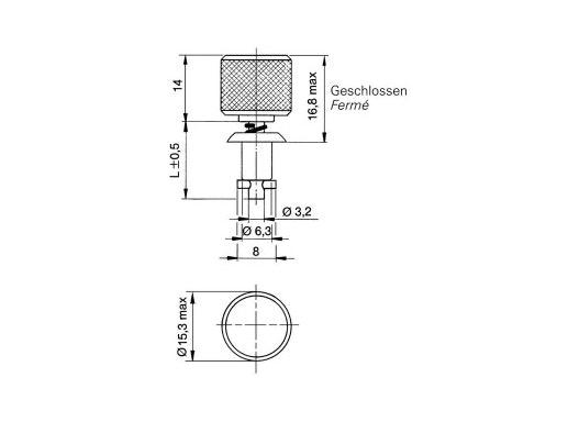 ¼ Drehverschlüsse 2600, Verschlusszapfen - Stahl verchromt