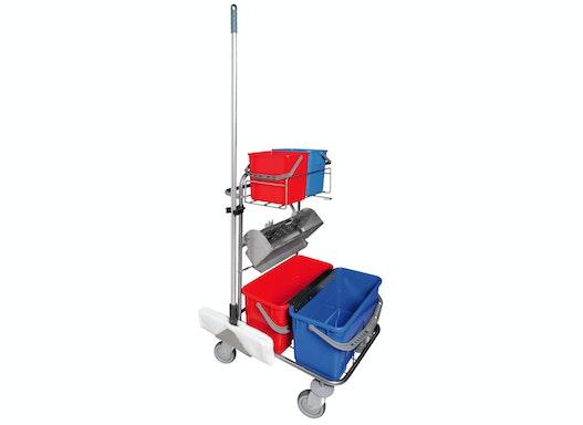 Symto Edelstahl Reinigungswagen klein mit Edelstahlpresse