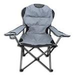 Campingstuhl grau / schwarz mit Kühltasche
